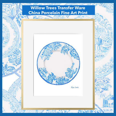 Willow Trees Transfer Ware Porcelain China Blue and White Fine Art Print by Diga Linda