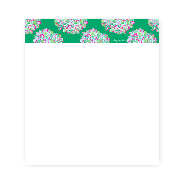 NOTEPAD IN THE HYDRANGEA DELIGHT JADE PRINT - Diga Linda