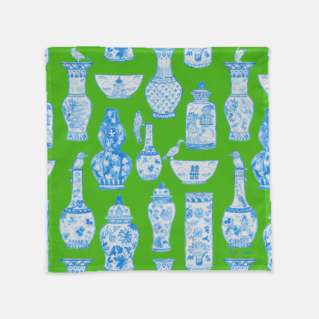 Chinoiserie blue and white GInger Jars Napkings in Kelly Green  by Diga Linda