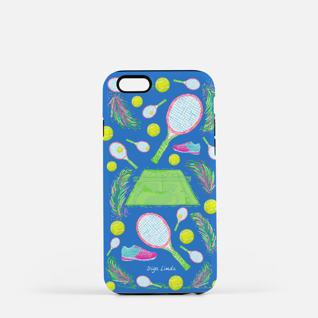 Tough Phone Case In The Tennis Olympic Blue Print - Diga Linda