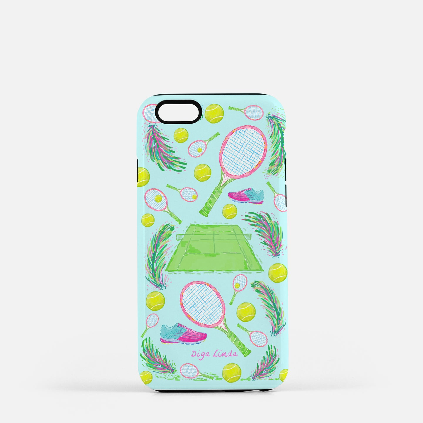 Tough Phone Case in the Tennis Blue Skies Print - Diga Linda