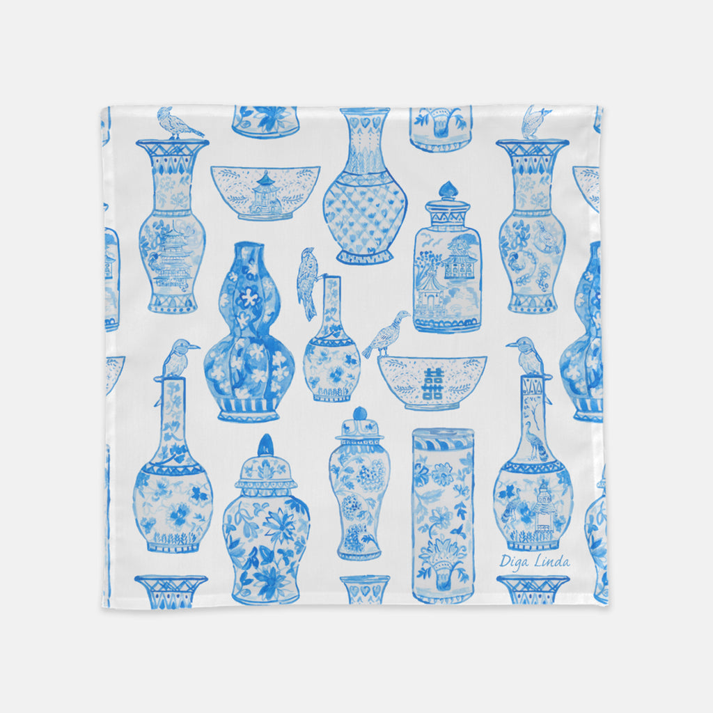 Chinoiserie blue and white GInger Jars Napkins by Diga Linda