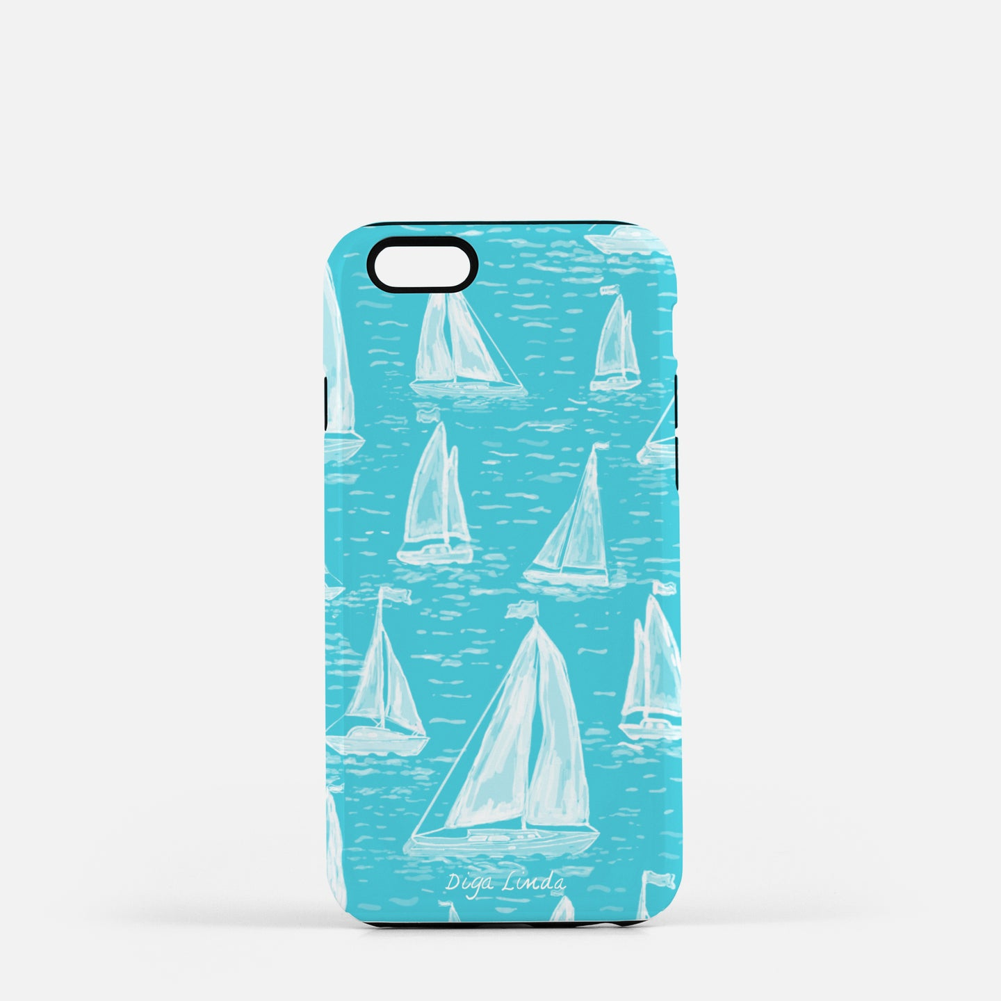 Tough Phone Case The Explorer In Aqua print - Diga Linda