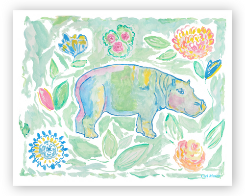 Colorful hippo fine art print - Diga Linda