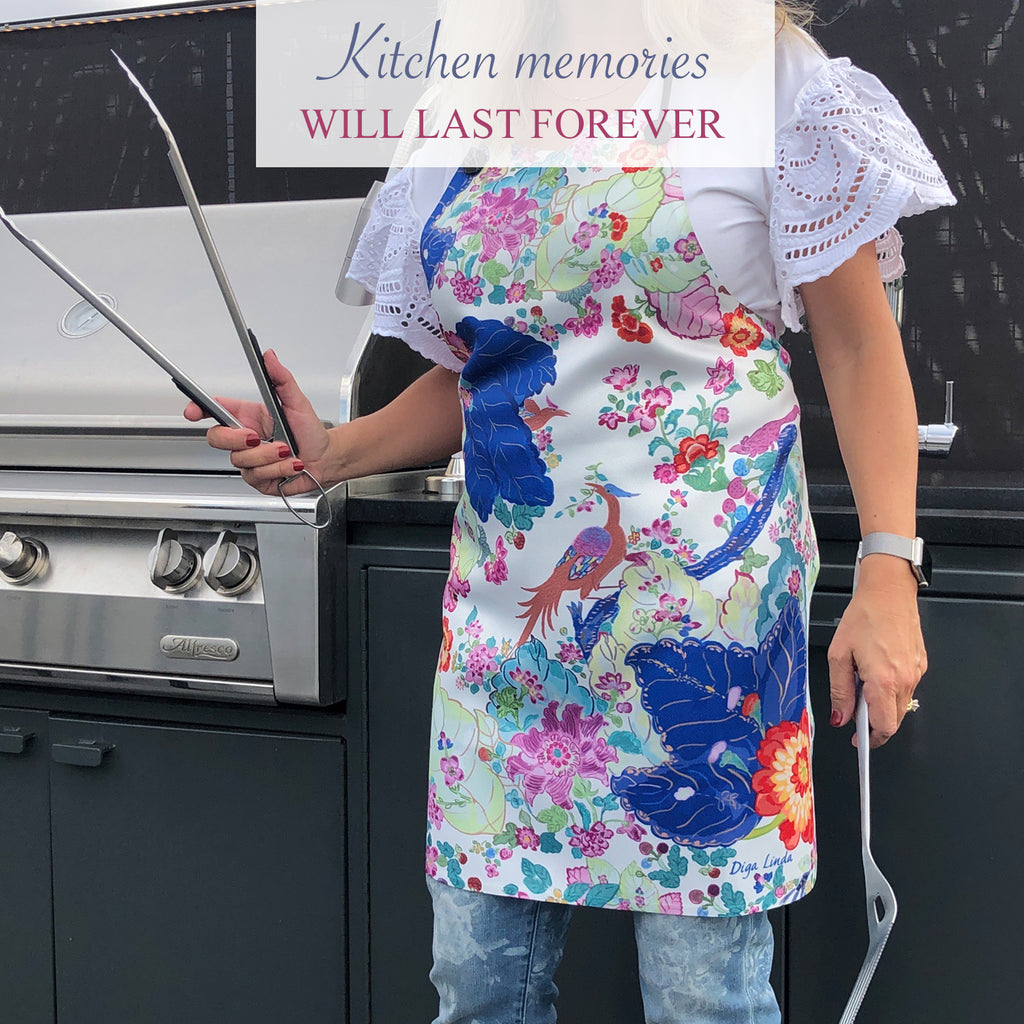 Tobacco Leaf Chinoiserie Apron