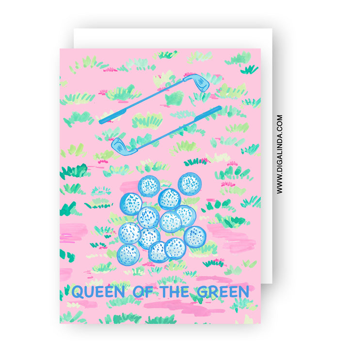 Ladies Golf - Queen of the green Greeting card - Diga Linda