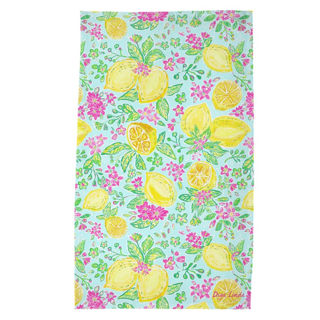 Lemon Joy Print Tea Towel - Diga Linda