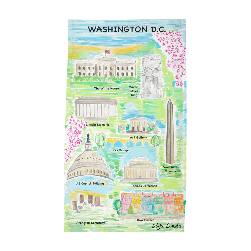 Washington DC Map Print Tea Towel - Diga Linda