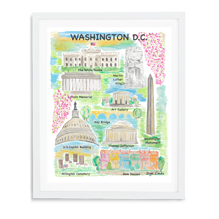 Washington DC Map Fine Art Print - Diga Linda