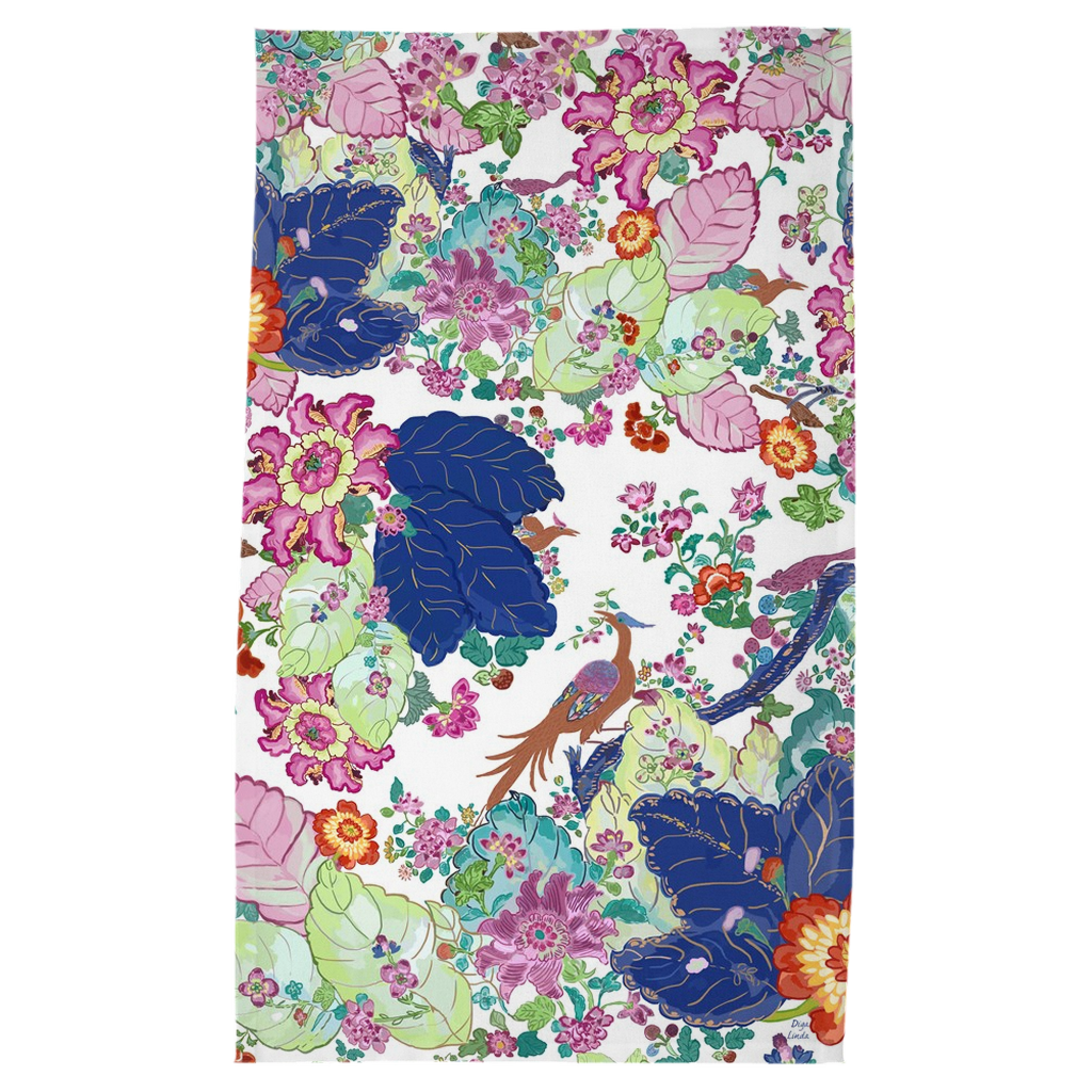 Tobacco Leaf Chinoiserie Tea Towel