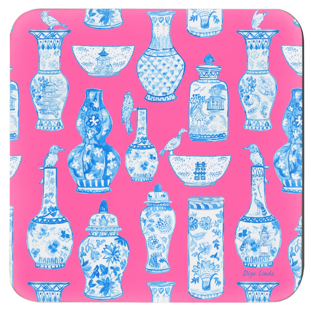 Chinoiserie Passion Pink Ginger Jars Coasters