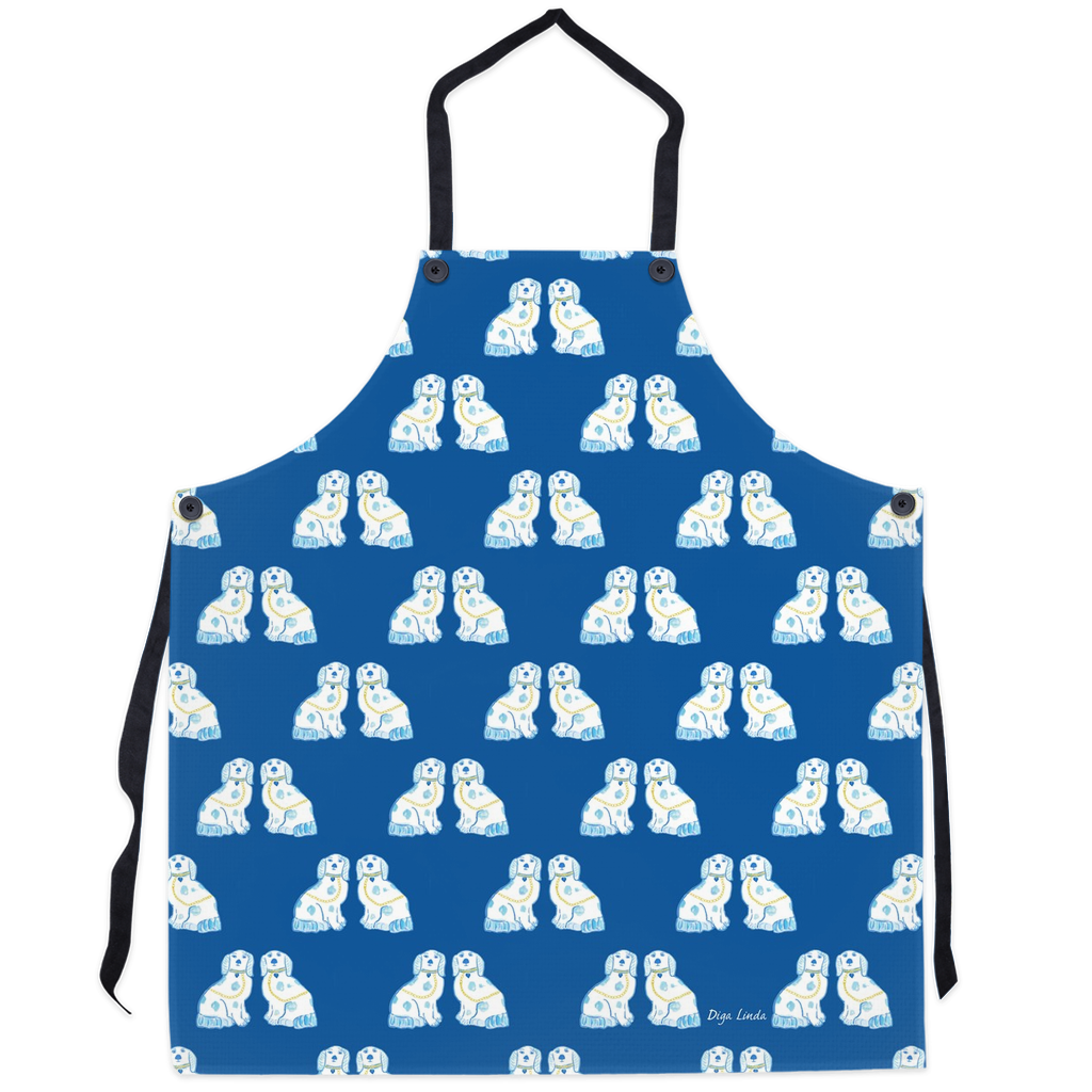 Staffordshire Dogs in Navy Aprons