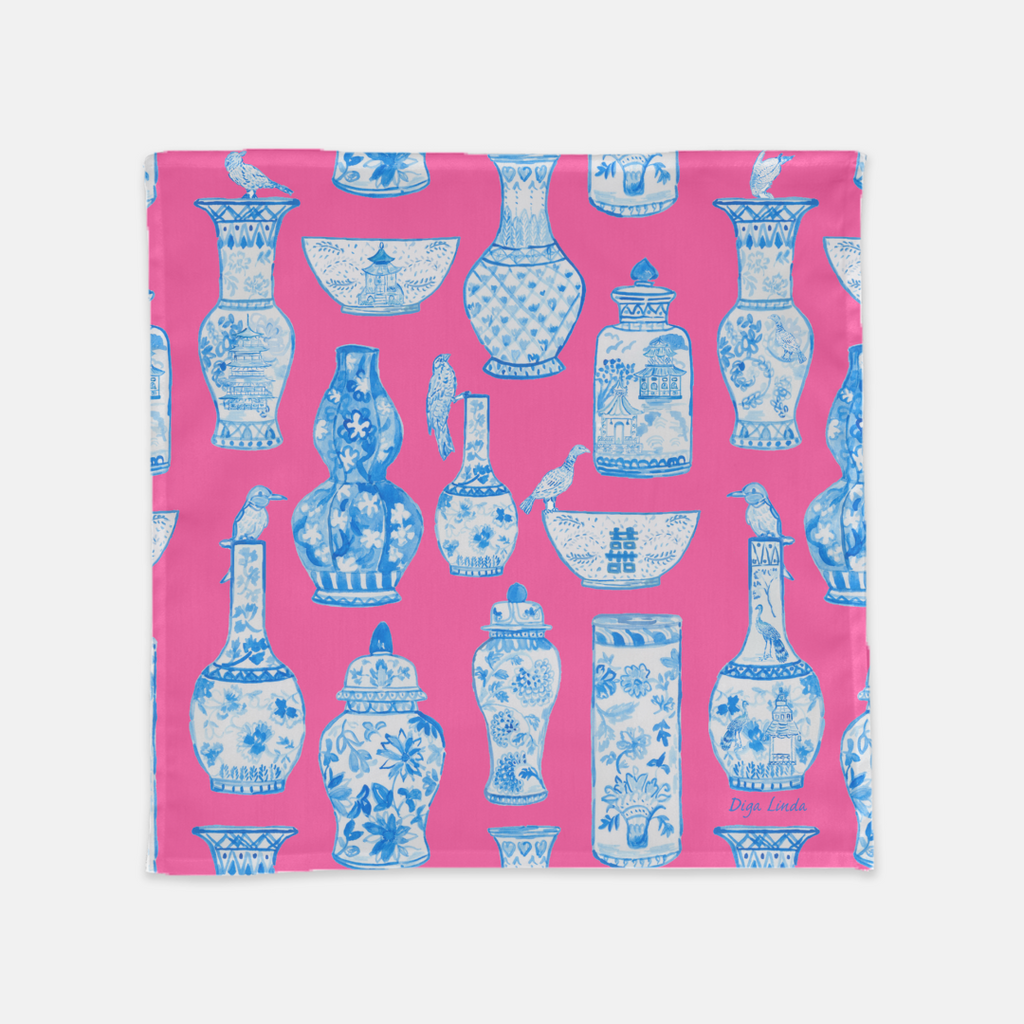 Chinoiserie blue and white GInger Jars in Pink by Diga Linda