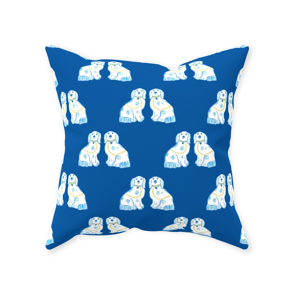 Staffordshire Dogs in Navy Throw Pillows