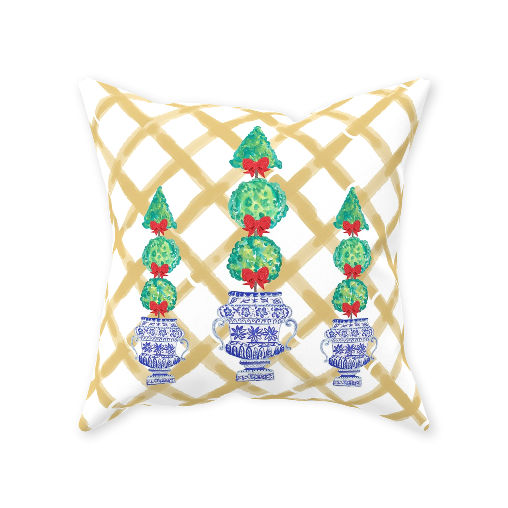 Chinoiserie Holiday Topiaries in Bamboo Throw Pillows
