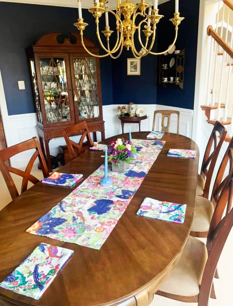 Tobacco Leaf Chinoiserie Table runner