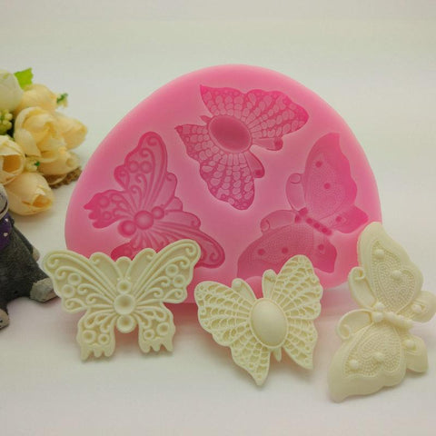 8.2*8.0*1.2cm Three Butterfly Fondant Cake Molds Food Grade Silicone Mold