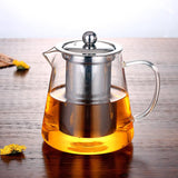 Glass Teapot High Temperature Resistant Loose Leaf Flower Tea Coffee Pot with Infuser Strainer Lid