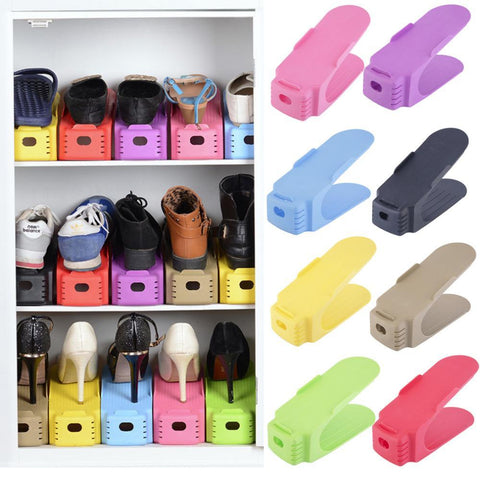 10PCS Adjustable Shoe Slots Space Saver Easy Organizer For Closet, Shoes Holder For Sneaker booties High heels Flats Sandals