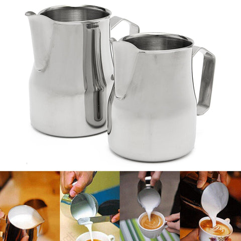 Stainless Steel Frothing Coffee Pitcher Milk Coffee Milk Jug Silver