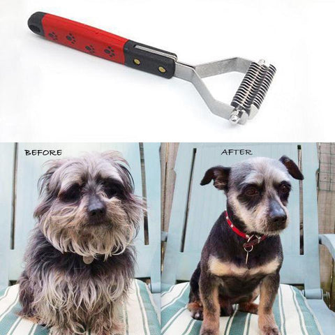 Pet Dematting Tool Comb for Dogs and Cats - Removes Loose Undercoat, Mats and Tangled Hair