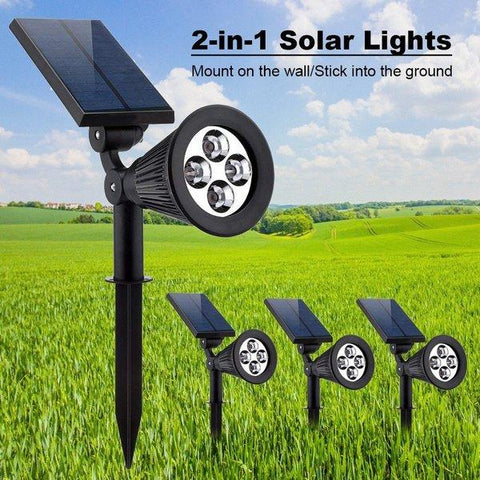 Outdoor Solar Lights 4 LED 2-in-1 Waterproof Lighting Landscape Wall Ground Projector Light for Garden Pool