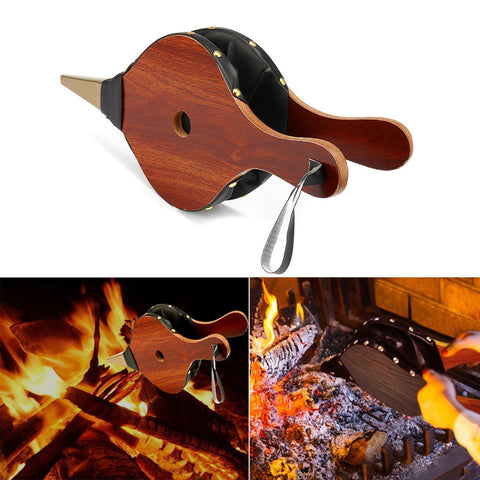 Wood Fireplace Hand Barbecue BBQ Air Fire Blower Cooking Stove Bellows Camping Picnic