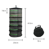 Herb Drying Rack Net Dryer 6 Layer 2ft Collapsible Black /Green Zippers Mesh Hydroponics