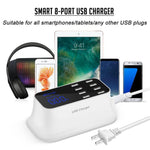 Smart 8-Port USB Fast Charger Power Adapter, Desktop Charging Station, Quick Charge with Smart IC Auto Detect Tech