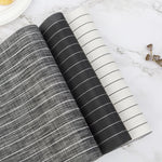 Black and White Striped Home Theme Restaurant Waterproof and Environmental Protection PVC Insulation Placemat