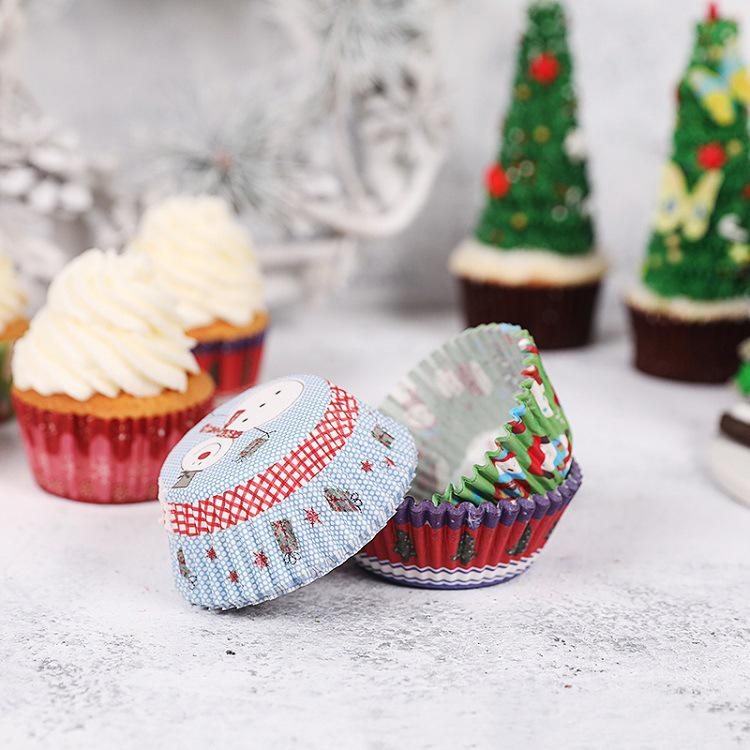 Christmas Birthday Cake.100pcs Set Cut Christmas Birthday Cake Decorating Tools Paper Muffin Cupcake Baking Cups