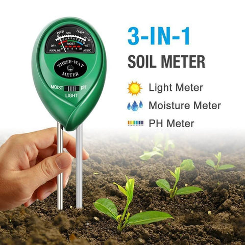 3-in-1 Soil Meter For Moisture, Light and pH Tester, Great For Garden, Farm, Lawn, Indoor & Outdoor