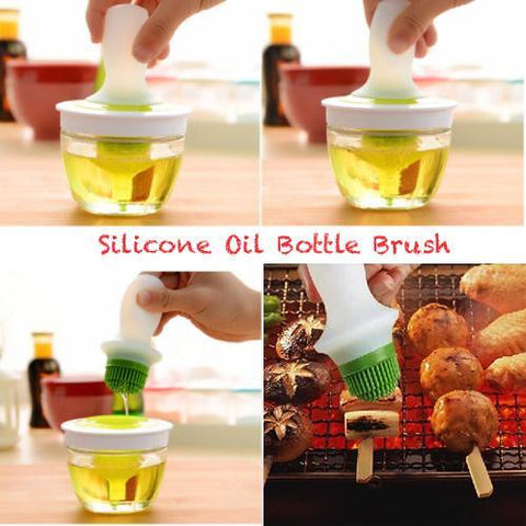 Silicone Oil Bottle Brush Heat-Resistant with Glass Oil Container for BBQ Cooking Baking and Grilling