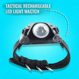 Tactical Rechargeable Wrist LED Light Watch Compass for Outdoor Running, Hiking, Camping, Riding