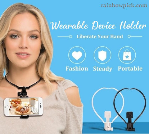 Wearable Device Holder on Neck Hands Free for POV Photographing Filming Self-Timer Video Recording Selfie Sports Cameras