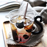 Cat Glass Cup Cartoon Children's Cup Creative Handle Coffee Cup Single-layer Transparent Juice Drink Cup