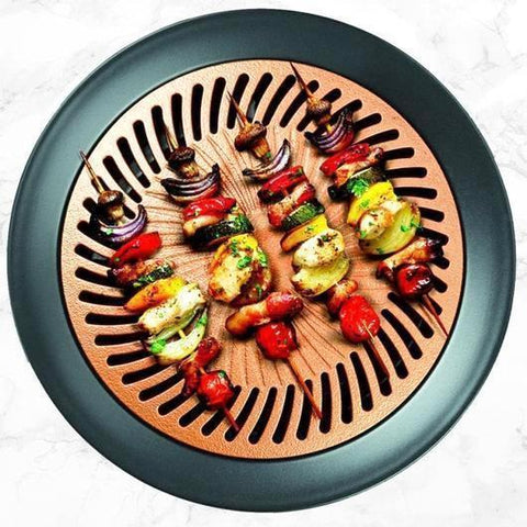 Ceramic Non-Stick Smokeless Stovetop Grill Healthy Indoor Kitchen BBQ