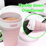 Collapsible Coffee Cup Silicone, Travel Mug, Reusable, Leak Proof Lid