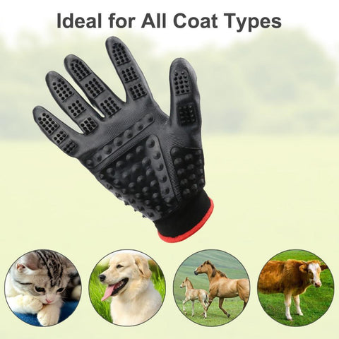 Pet Shedding Grooming Gloves Enhanced Five Finger Design - for Cats, Dogs & Horses - Long & Short Fur - Gentle De-Shedding Brush