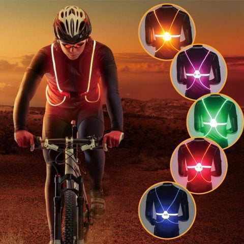 LED Reflective Safety Vest Jacket for Night Running Cycling High Visibility
