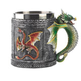 3D Novelty Medieval Dragon Mug Faucet Cup Double Wall Stainless Steel Coffee Cup Mugs Christmas Gift