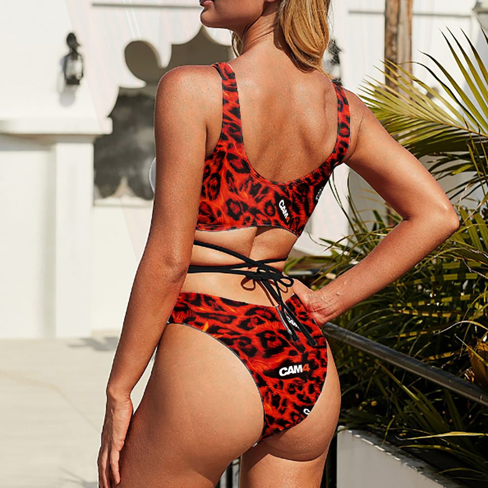 Load image into Gallery viewer, Cheetah Laced Waist Bikini