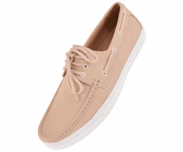 Kaz Mens 3 Eye Lace Up Boat Shoe In Natural Canvas Boats Taupe / 10