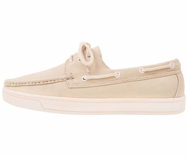 Kaz Mens 3 Eye Lace Up Boat Shoe In Natural Canvas Boats