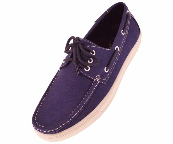 Kaz Mens 3 Eye Lace Up Boat Shoe In Natural Canvas Boats Navy / 10