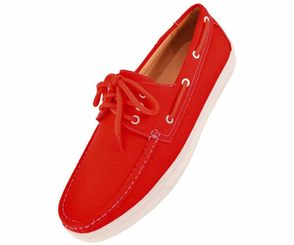 Kaz Mens 3 Eye Lace Up Boat Shoe In Natural Canvas Boats Red / 10