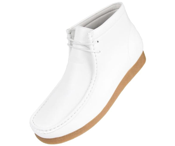 Jason Faux Suede High Top Moc Bootw/ Crepe Like Sole Boots White / 10