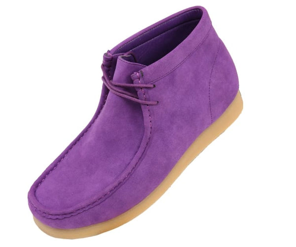 Jason Faux Suede High Top Moc Bootw/ Crepe Like Sole Boots Purple / 10