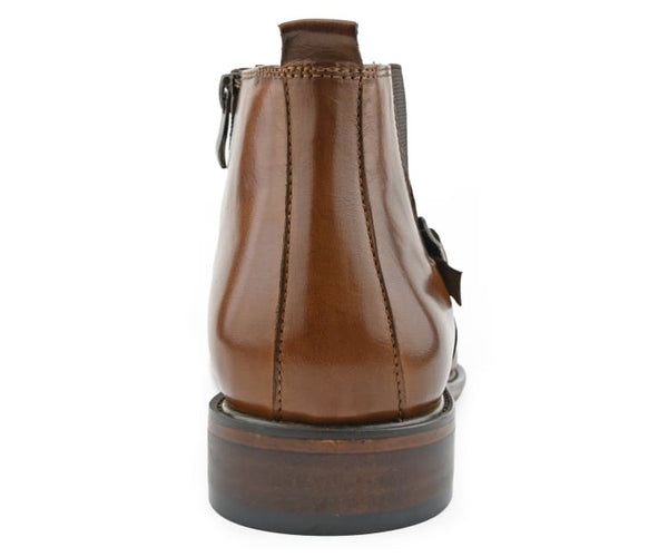 Asher Green Genuine Hand Crafted Leather Chelsea Boot Pull on Dress Boot with Buckle, Style AG215