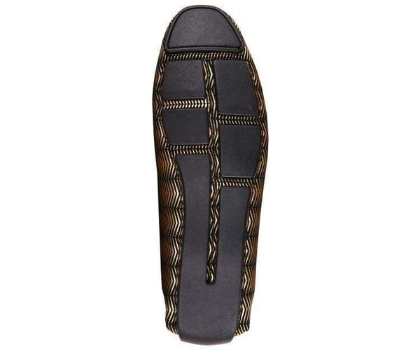 Slink Metallic And Black Patterned Driver Driving Moccasins